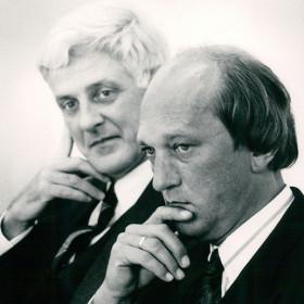 Het eerste College van Bestuur (1989):Henk Bijleveld en Douwe van Houten